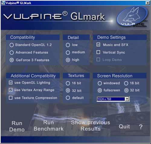 NVIDIA GeForce3 benchmarking with Vulpine GLMark